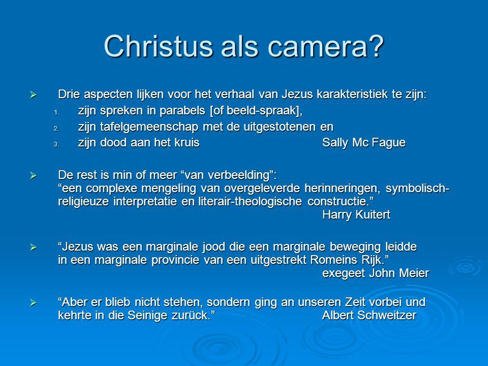Christus als camera Drie aspecten lijken voor het verhaal van Jezus karakteristiek te zijn: zijn spreken in parabels [of beeld-spraak],